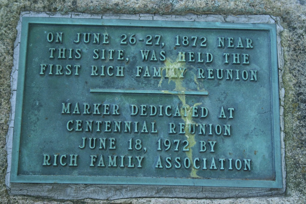 Rich Reunion Memorial Plaque